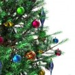 High definition 3D video of green decorated rotating Christmas tree with alpha mask key - Stock Photo