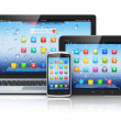 Laptop, tablet PC and smartphone — 图库照片