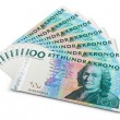 Stack of 100 swedish krona banknotes — Stockfoto