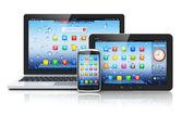 笔记本电脑、 平板电脑和智能手机 — 图库照片