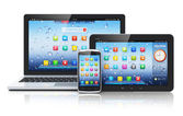 Laptop, tablet PC and smartphone — Photo