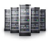 ряд сетевых серверов в центре обработки данных — Стоковое фото