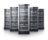 Row of network servers in data center — ストック写真