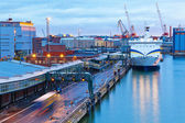 Evening view of the Port of Helsinki, Finland — Stock Photo