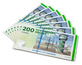 Stack of 200 danish krone banknotes — Stock Photo