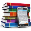 Smartphone with text and stack of color books - Foto de Stock
