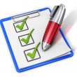Checklist on clipboard and pen — Stock Photo #21581275