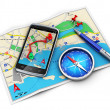 GPS navigation, travel and tourism concept - Stock Photo