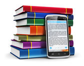 Smartphone with text and stack of color books — Stock Photo