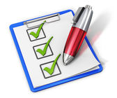 Checklist on clipboard and pen — Stock Photo