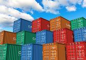 Contenedores apilados en puerto — Foto de Stock