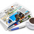 Stack of business newspapers and coffee cup — Stock Photo #21994097
