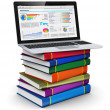 Laptop on stack of color books — Stock Photo