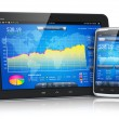 Stock market on mobile devices — Stock Photo