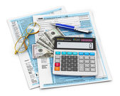 Filling of 1040 Tax form — Stock Photo