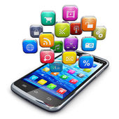 Smartphone avec nuage d'icônes — Photo