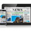 Tablet PC and smartphone with business news — Stock Photo #24562309