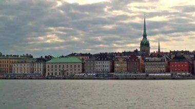Paysage du soir de stockholm, suède — Vidéo