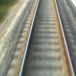 Stock Video: Close view of railroad track at high speed