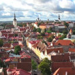 Zoom aerial panorama of Tallinn, Estonia - Stock Photo