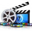 Постер, плакат: Clapper board film reel and filmstrip