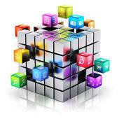 Concept de technologie mobile applications et médias — Photo