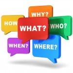 pratbubblor med frågor — Stockfoto