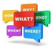 Konuşma balonları ile sorular — Stok fotoğraf
