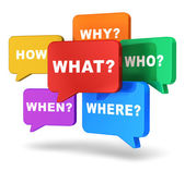Speech balloons with questions — Stock Photo
