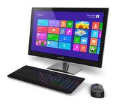 Desktop computer met touchscreeninterface — Stockfoto