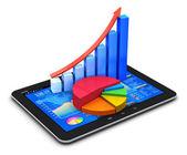 Mobiele concept van de financiën en statistieken — Stockfoto
