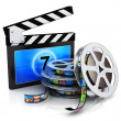 Clapper board and film reel with filmstrip — Stock Photo