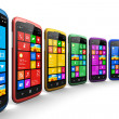 Modern smartphones with touchscreen interface — Stock Photo