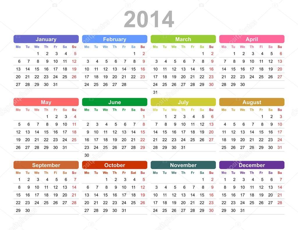2014 year annual calendar monday first english stok