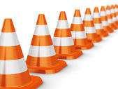 Row of orange traffic cones — Stock Photo
