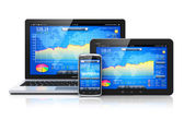 Financial management on mobile devices — Stock fotografie