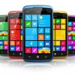 Modern smartphones with touchscreen interface — Stock Photo #31628693