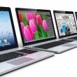 Stock Photo: Row of laptops