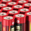 Stock Photo: macro view of aa batteries