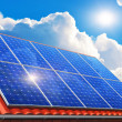 Solar panels on house roof — Foto de Stock