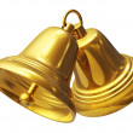 Golden Christmas bells — Stock Photo