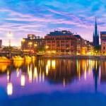 Закат в Стокгольме, Швеция — Стоковое фото