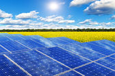 Solar panels in rape field — Stock Photo
