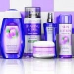 Cosmetics on bathroom shelf — Stock Photo