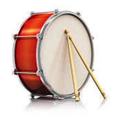 Red drum with drumsticks — Stock Photo