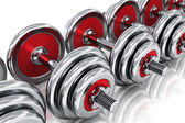 Row of dumbbells — Stock Photo