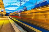 Evening railway station — Stockfoto
