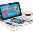 Tablet computer and business objects — Stock Photo