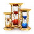 Vintage golden hourglasses — ストック写真