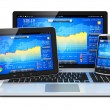 Financial management on mobile devices — Stock Photo